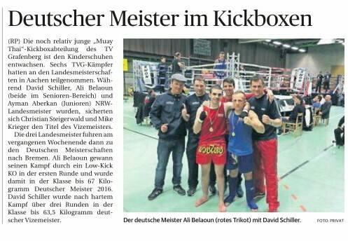 TVG Grafenberg in der Zeitung